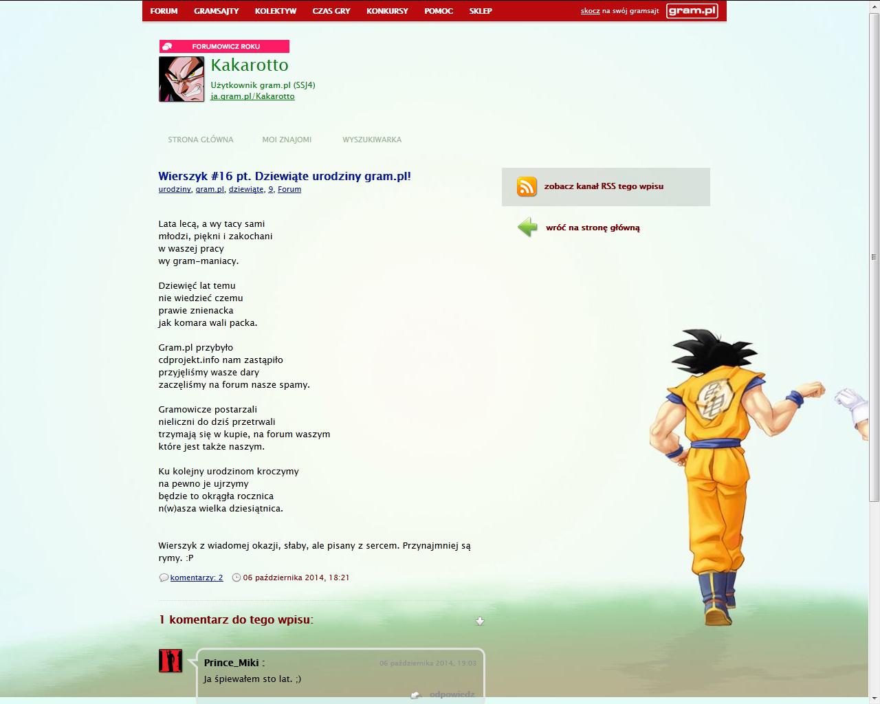 Kakarotto napisał wierszyk z okazji dziewiątych urodzin gram.pl!