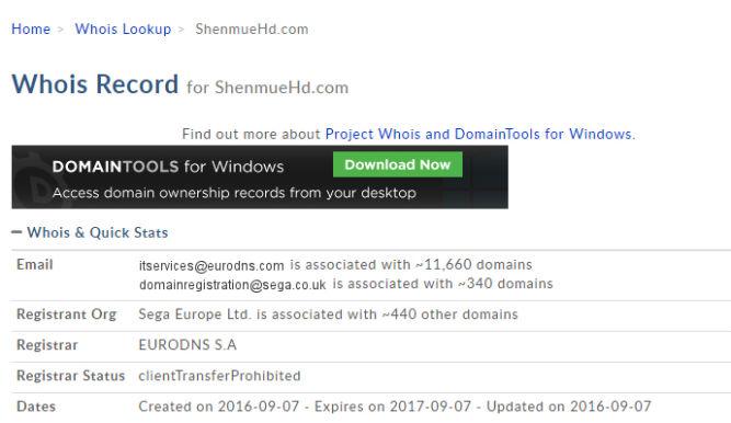Sega Europe zarejestrowała domeny związane z Shenmue HD - obrazek 2